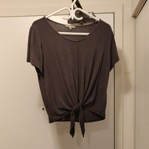 Charcoal Front Tie T-shirt